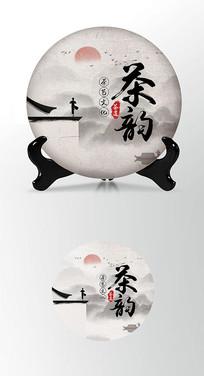 古韵茶香茶饼棉纸图案包装设计