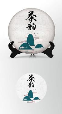 简约山水写意茶叶棉纸茶饼包装设计