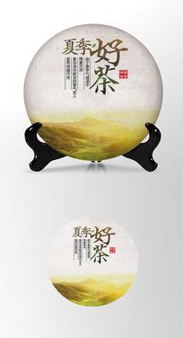 金色茶饼棉纸图案包装设计