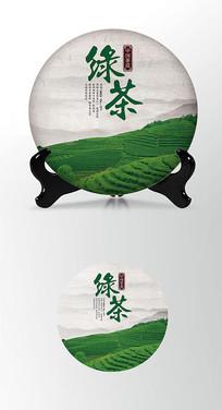 绿茶茶饼棉纸图案包装设计