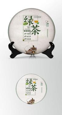 绿茶山海茶叶棉纸茶饼包装设计