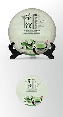 绿茶元素茶叶棉纸茶饼包装设计PS