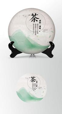 绿色背景茶饼棉纸图案包装设计