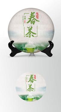 绿色春茶茶饼棉纸图案包装设计