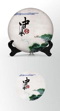 绿色简约茶叶棉纸茶饼包装设计
