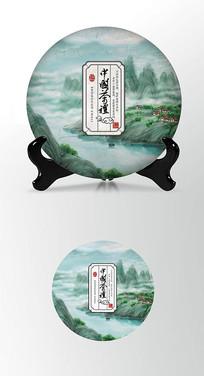 绿色田园茶饼棉纸图案包装设计