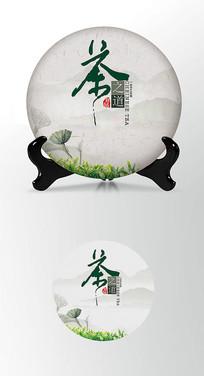 绿叶大气茶叶棉纸茶饼包装设计