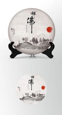日式茶叶棉纸茶饼包装设计