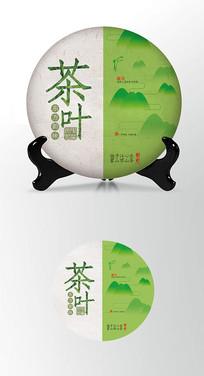 山海绿色背景茶叶棉纸茶饼包装设计