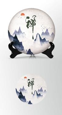 山海云海茶叶棉纸茶饼包装设计