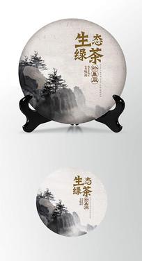 生态茶饼棉纸图案包装设计