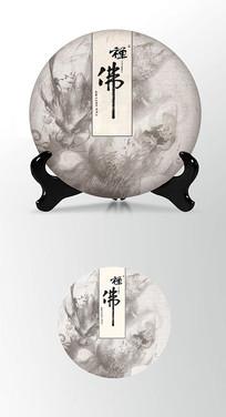 水墨龙茶叶棉纸茶饼包装设计PSD