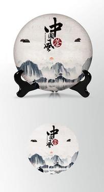 水墨山海茶叶棉纸茶饼包装设计