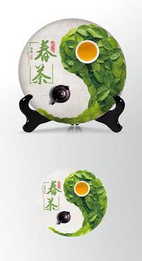太极绿茶茶饼棉纸图案包装设计