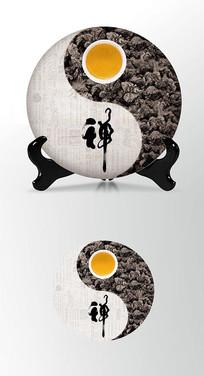 太极图案茶叶棉纸茶饼包装设计