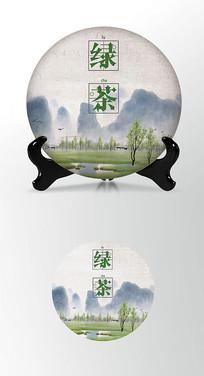 天然茶叶棉纸茶饼包装设计