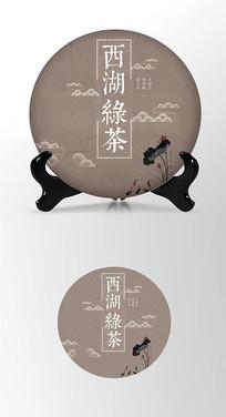 西湖绿茶茶饼棉纸图案包装设计