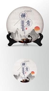 禅意朝阳茶饼棉纸图案包装设计