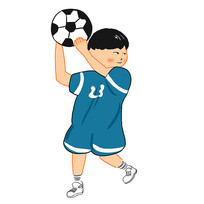 原创卡通小男孩足球运动员手举足球元素