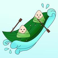 原创元素端午粽子划舟