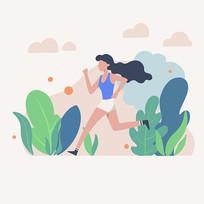 原创元素夏日扁平化女孩奔跑