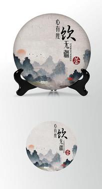 云海山峦茶叶棉纸茶饼包装设计PSD