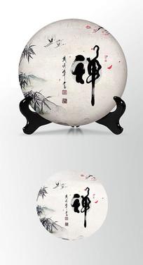竹叶禅意茶叶棉纸茶饼包装设计