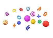 彩色小球漂浮元素