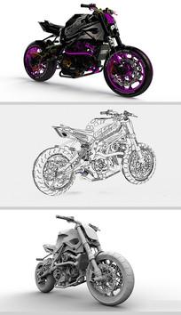 超精细摩托车设计Solidworks模型