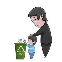 卡通爱护卫生垃圾分类人物扔垃圾元素