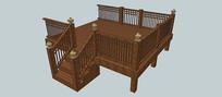 木质围栏露台SU模型