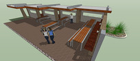室外区域休闲廊架SU模型