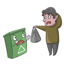 手绘爱护卫生垃圾分类人物扔垃圾元素