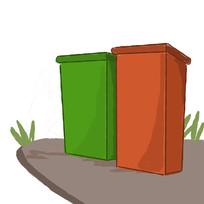 手绘创意文明城市垃圾分类垃圾桶元素