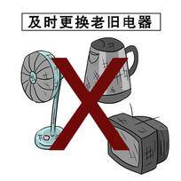 手绘及时更换老旧电器消防安全知识漫画元素