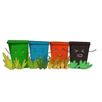 手绘文明城市垃圾分类垃圾桶元素