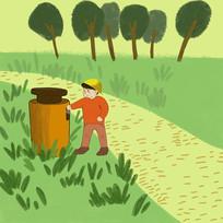 手绘文明城市小男孩扔垃圾元素