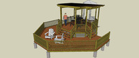 双层木质廊架亭SU模型