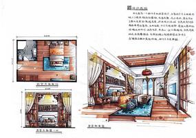 新中式卧室手绘设计