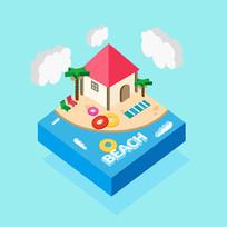 原创元素沙滩小房子25D