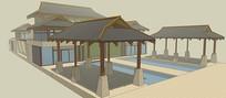 中式建筑廊亭SU模型