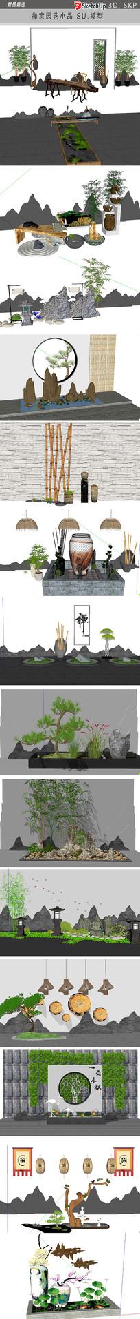 中式园艺小品模型
