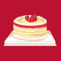 手绘蛋糕美食生日派对元素