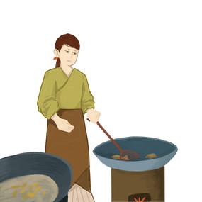 手绘古装女子制作传统美食元素 PSD