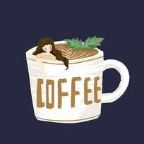 手绘咖啡coffee甜品元素
