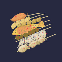 手绘美食烧烤串串元素