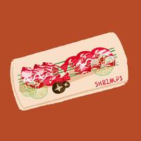 手绘日本美食寿司插画元素