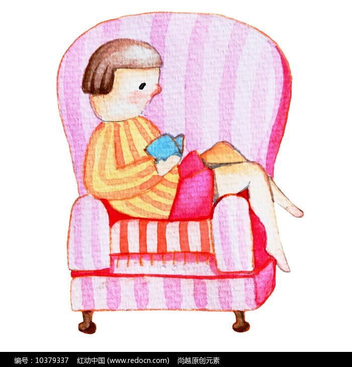 水彩风创意女孩看书阅读日插画元素图片