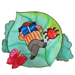水彩风创意女孩看书阅读日插画元素