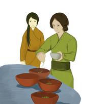 原创手绘古装妇女制作传统美食元素